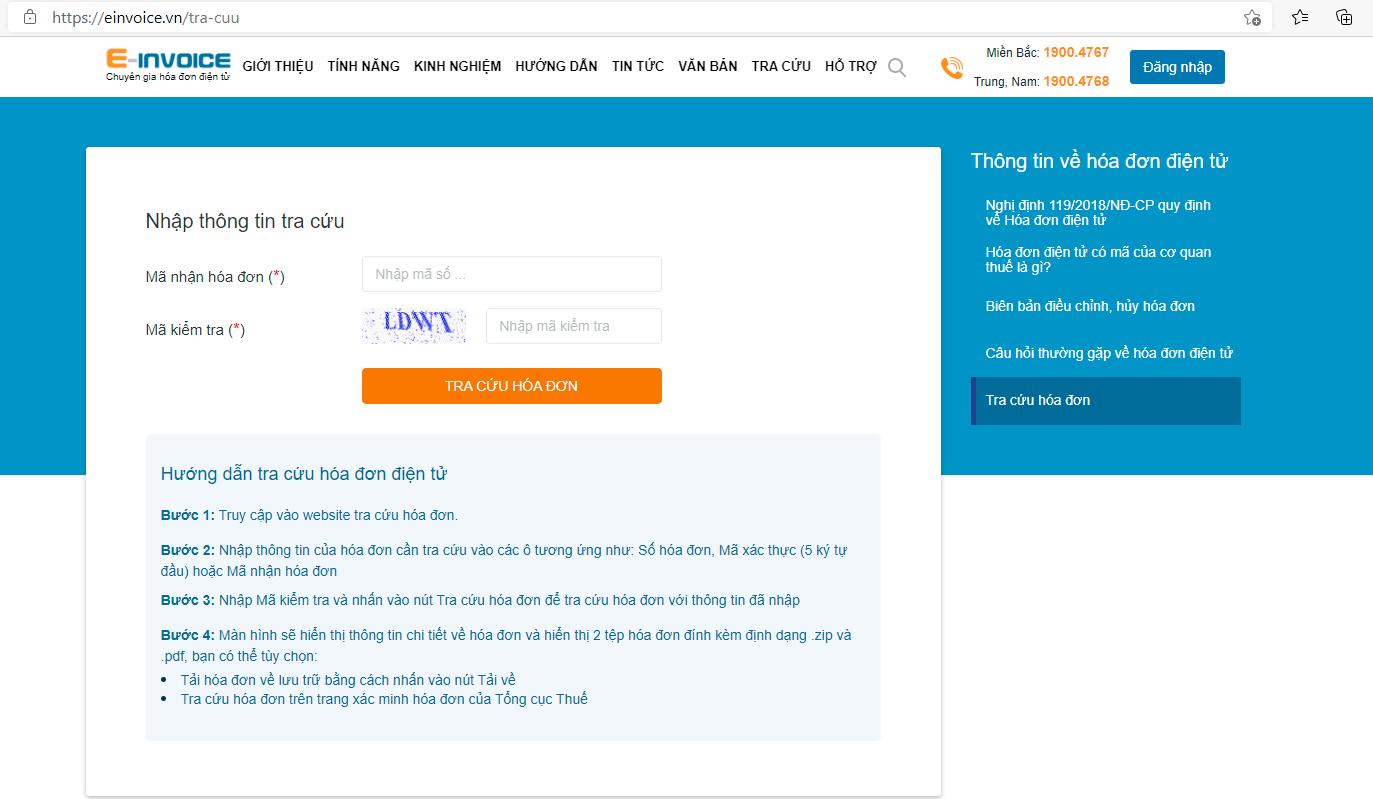 Giao diện tra cứu hóa đơn điện tử trên phiên bản web E-invoice.