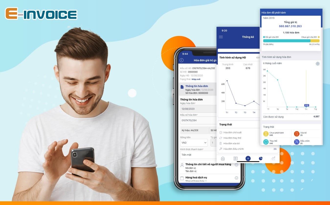 Mobile app E-invoice giúp thống kê chính xác tình hình sử dụng hóa đơn của doanh nghiệp