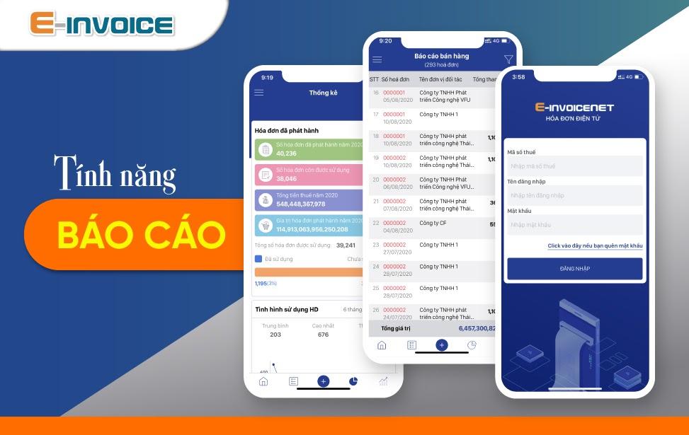Tính năng báo cáo trên App hóa đơn điện tử E-invoice giúp người dùng nắm bắt tổng hợp thông tin hóa đơn dễ dàng.
