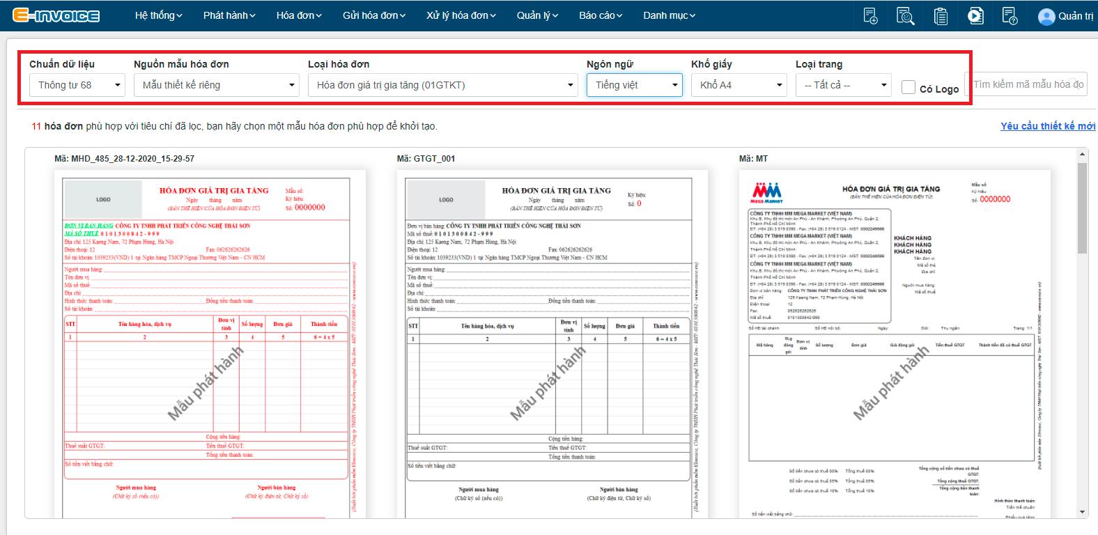 Nhập điều kiện cho hóa đơn để lọc ra hóa đơn phù hợp.