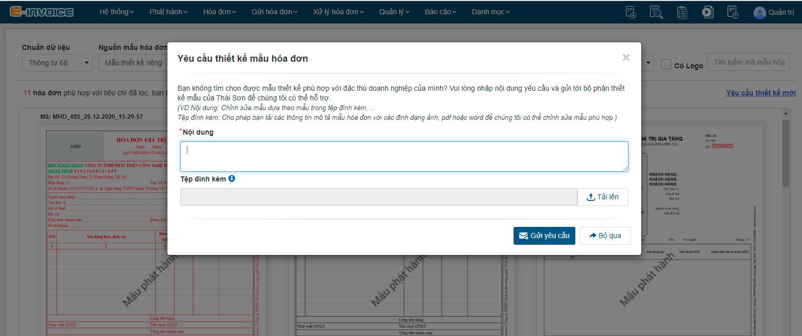 """Nhập """"Yêu cầu thiết kế mới"""" nếu không tìm được mẫu hóa đơn phù hợp."""
