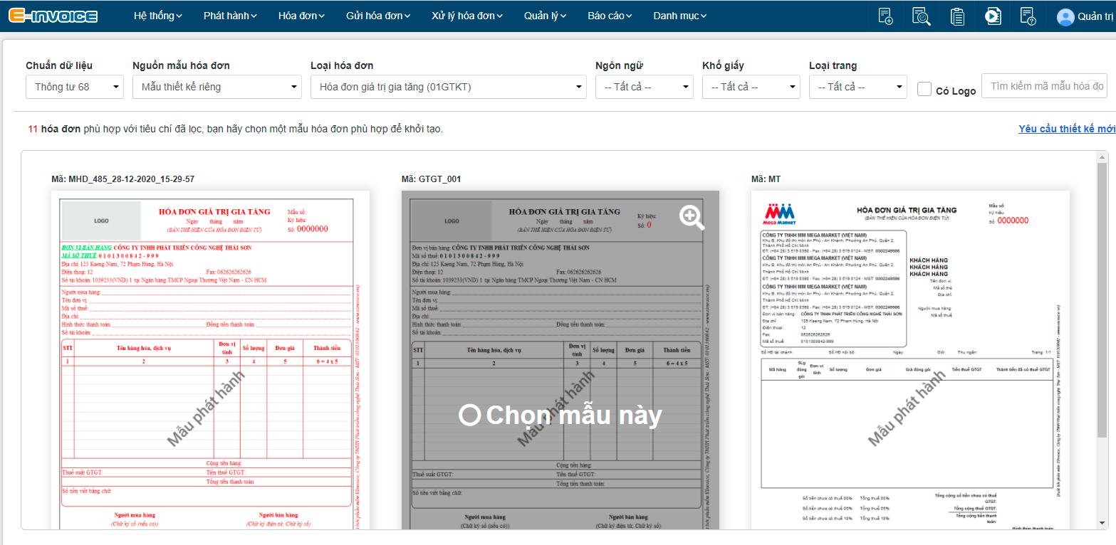 Nhấn chọn mẫu hóa đơn phù hợp nhất và tiến hành thiết kế.