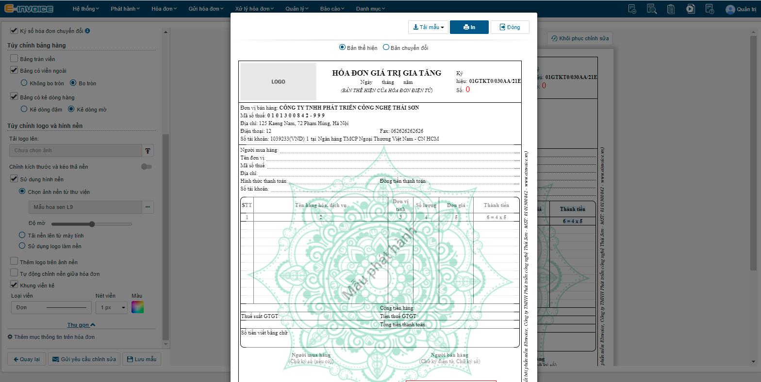 """Nhấn chọn """"Xem mẫu"""" để xem kết quả hóa đơn thiết kế."""