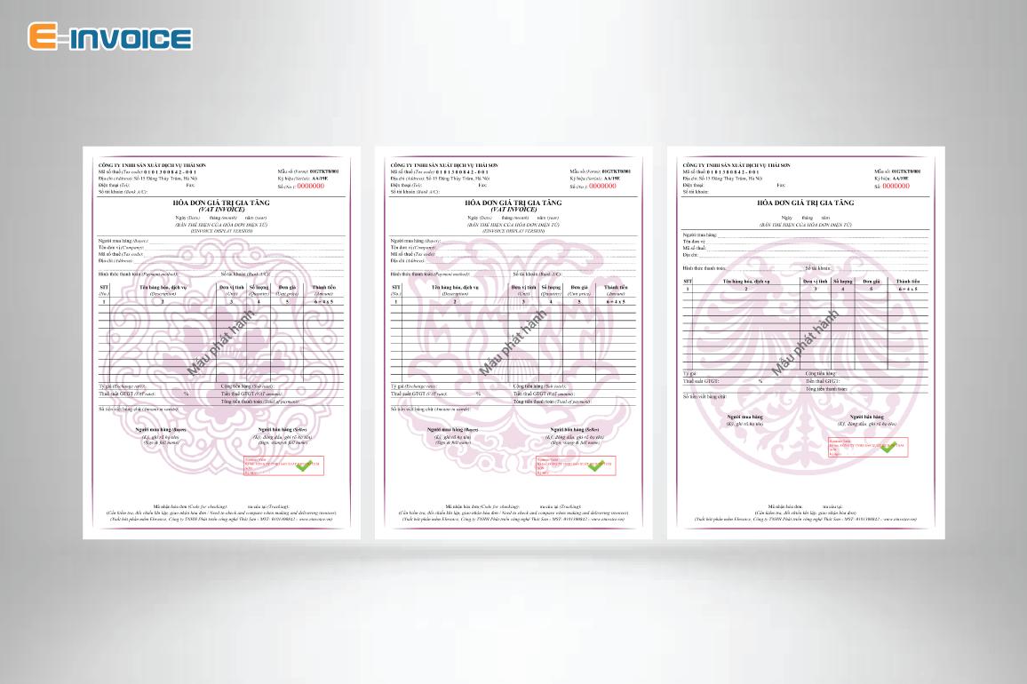 Mẫu hóa đơn có họa tiết màu tím, đỏ hợp phong thủy với người mệnh hỏa.
