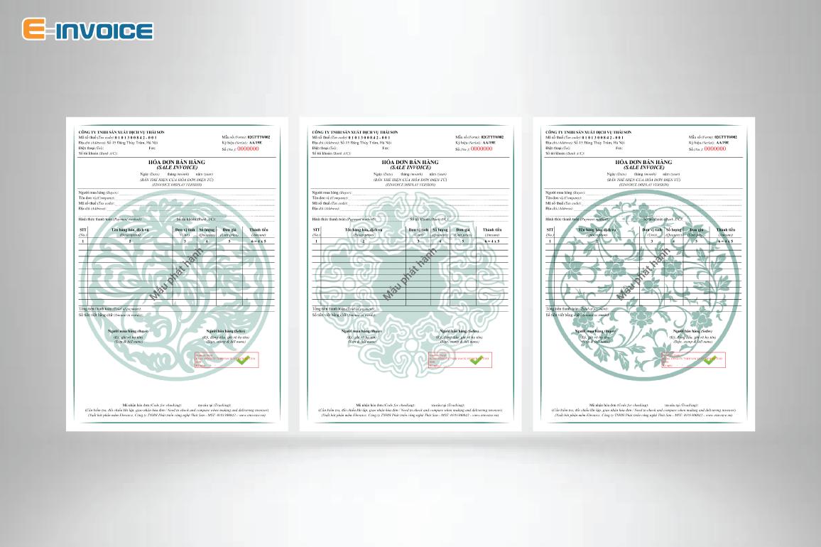 Mẫu hóa đơn có họa tiết màu xanh lá dành cho người mệnh Mộc.