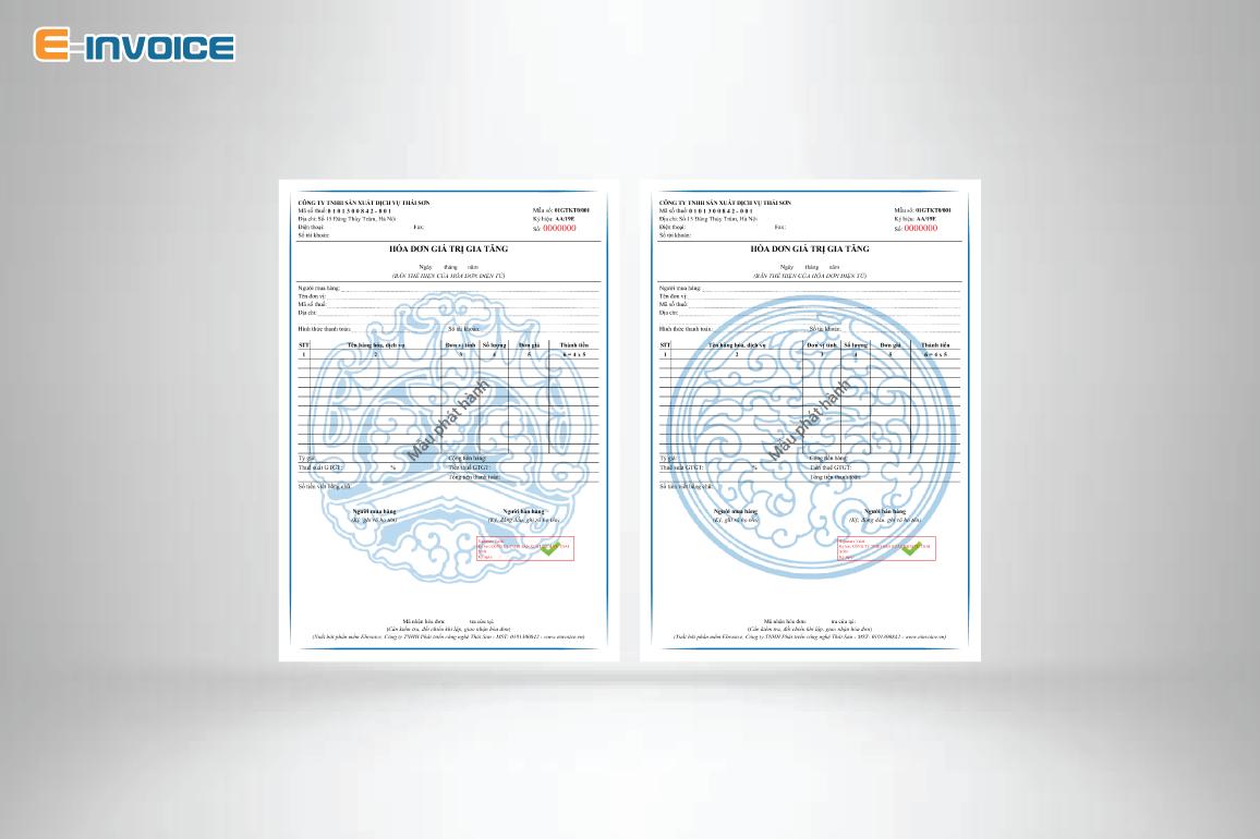 Mẫu hóa đơn có họa tiết màu xanh dương hợp phong thủy với người mệnh Thủy.