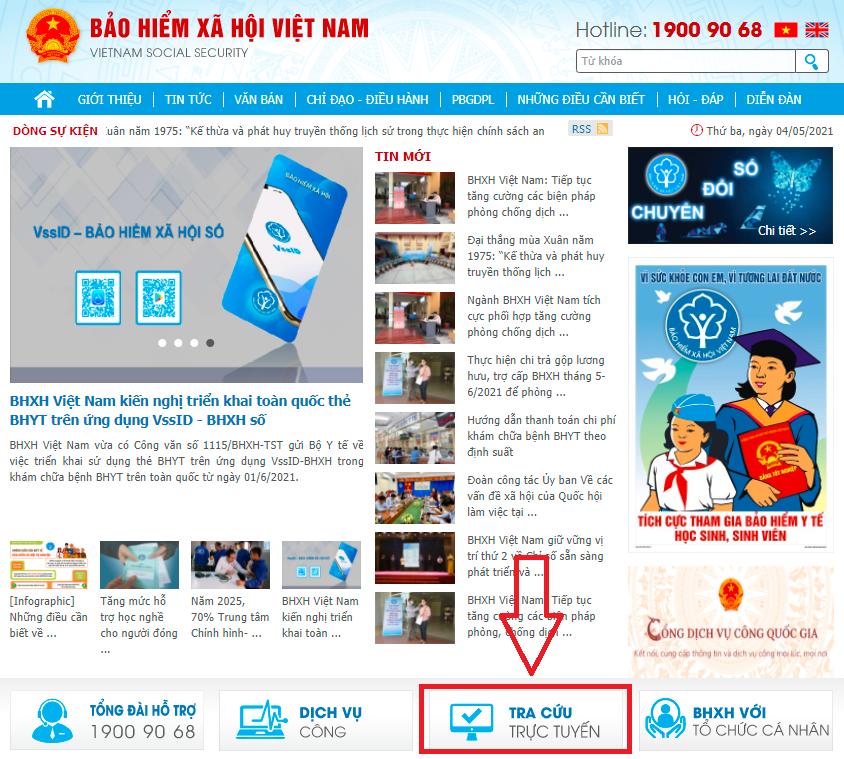 """Trên giao diện chính của Cổng thông tin điện tử của Cơ quan BHXH Việt Nam nhấn chọn mục """"Tra cứu trực tuyến""""."""